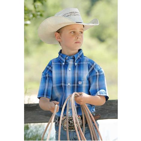 Cinch Blue Plaid Short Sleeve Button Down Boy's Shirt
