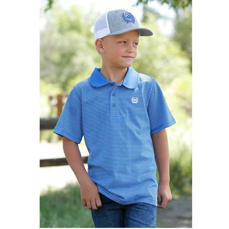 Cinch Blue Stripe Short Sleeve Boy's Polo Shirt