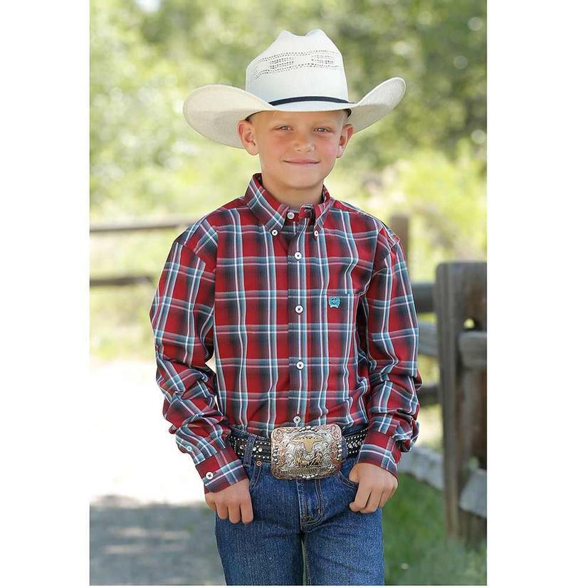 Cinch Red Plaid Long Sleeve Button Down Boy's Shirt