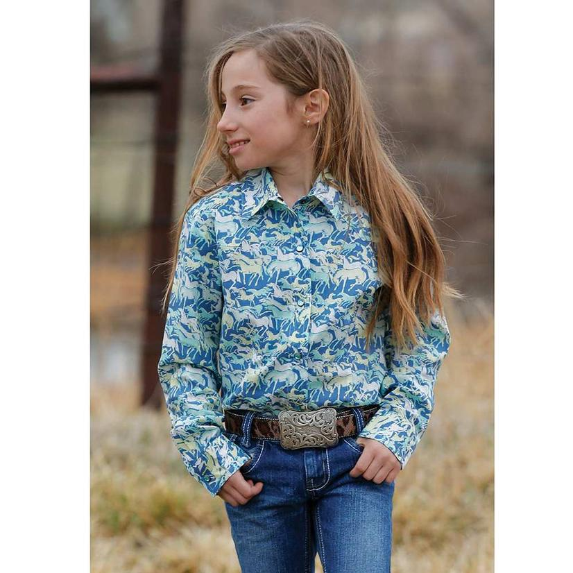 Cruel Girl Blue Horse Pritn Long Sleeve Button Down Girl's Shirt