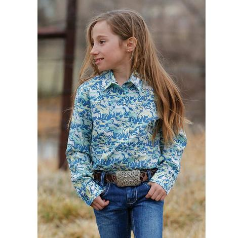 Cruel Girl Blue Horse Print Long Sleeve Button Down Girl's Shirt