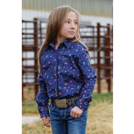 Cruel Girl Navy Printed Long Sleeve Snap Girl's Shirt