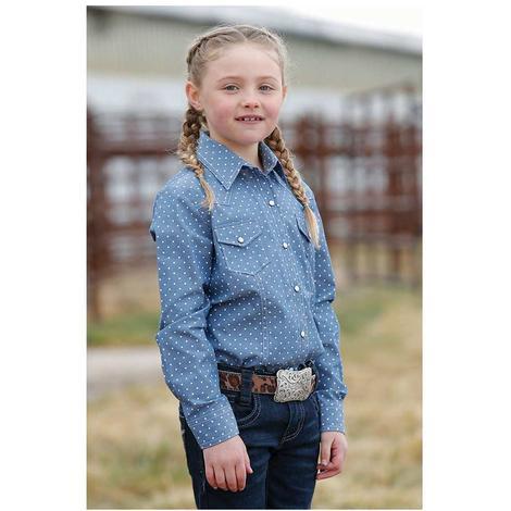 Cruel Girl Blue Polka Dot Long Sleeve Snap Girl's Shirt