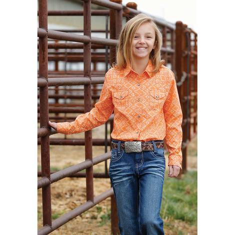 Cruel Girl Orange Aztec Print Long Sleeve Snap Girl's Shirt