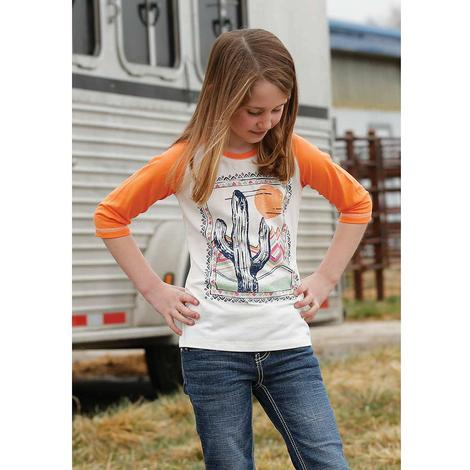Cruel Girl Orange Three Quarter Sleeve Orange Cactus Girl's Tee