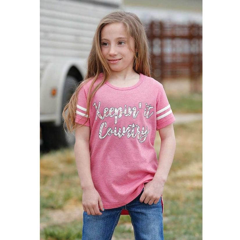 Cruel Girl Keepin It Country Pink Girl's Tee
