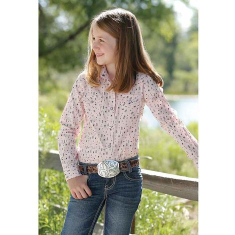 Cruel Girl Pink Print Long Sleeve Snap Girl's Shirt