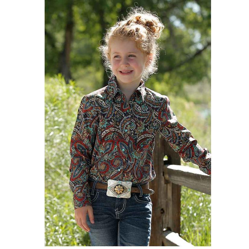 Cruel Girl® Ladies Paisley Print Snap Shirt