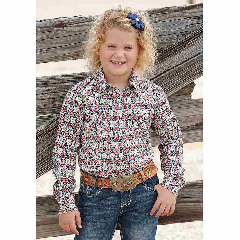 Cruel Girl Orange Navy Print Long Sleeve Snap Girl's Shirt