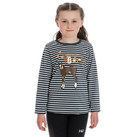 Navy Stripe Bae Horse Long Sleeve Girl's Shirt