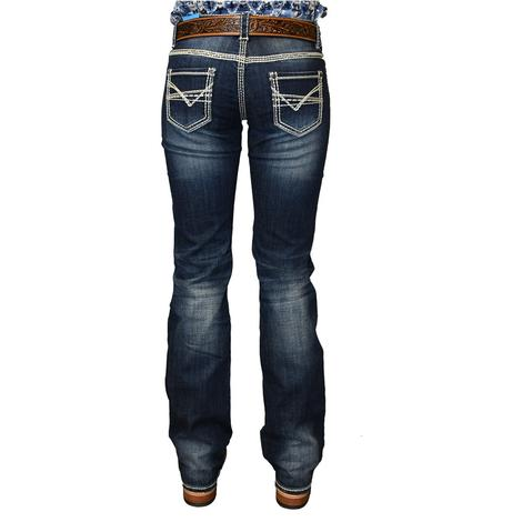 Rock and Roll Cowgirl Dark Vintage Wash Cream Stitch Pocket Women's Jeans