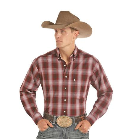 Panhandle Large Red Ombre Plaid Long Sleeve Button Down Men's Shirt