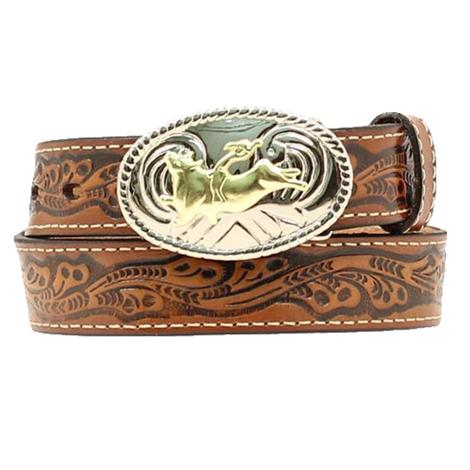 Nocona Brown Tooled Boy's Belt with Buckle
