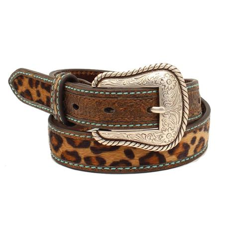 Ariat Brown Leopard Girl's Belt with Silver Buckle