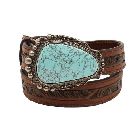 Nocona Brown Tooled Girl's Belt with Turquoise and Silver Buckle