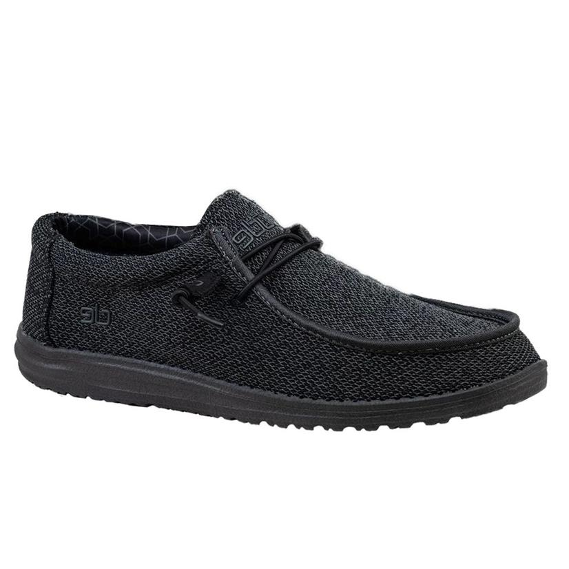 Hey Dude Wally Sox Men's Total Black Shoes