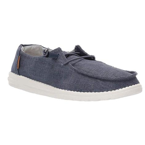 Hey Dude Wendy Chambray Navy White Women's Shoes