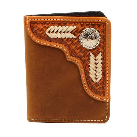 Nocona Brown Basketweave Bifold Wallet