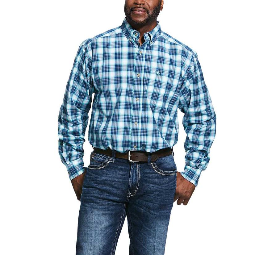 Ariat Roselle Blue Plaid Long Sleeve Buttondown Men's Shirt