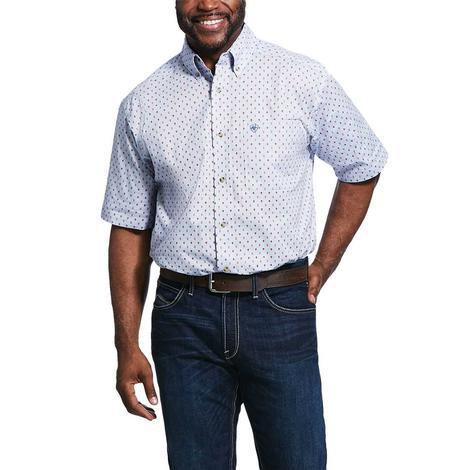 Ariat Standford Blue Red Print Short Sleeve Buttondown Men's Shirt