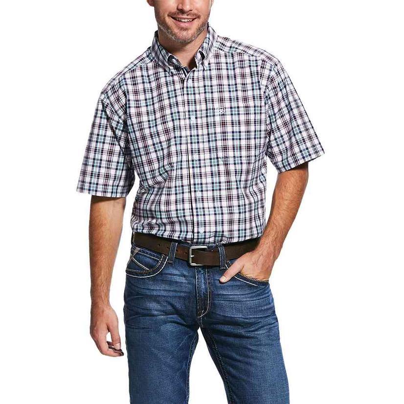 Ariat Roanoke Purple Teal Plaid Short Sleeve Buttondown Men's Shirt