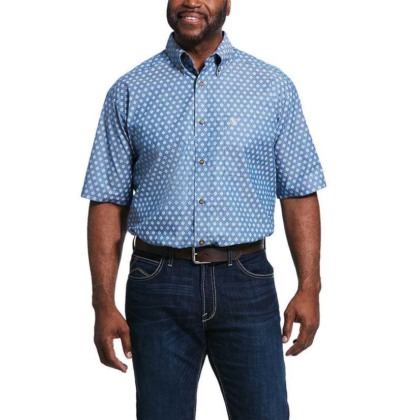 Ariat Rossmoor Blue Print Short Sleeve Buttondown Men's Shirt