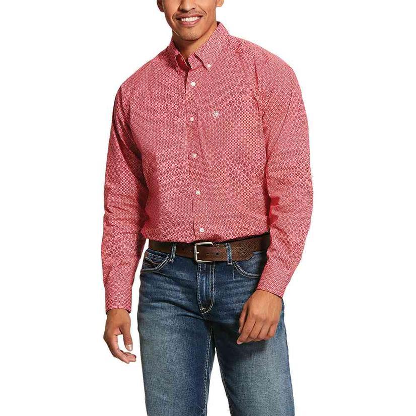 Ariat Nakima Red Print Long Sleeve Buttondown Men's Shirt