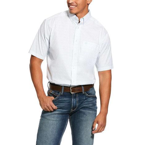 Ariat Nothell Stretch Light Blue Print Short Sleeve Buttondown Men's Shirt