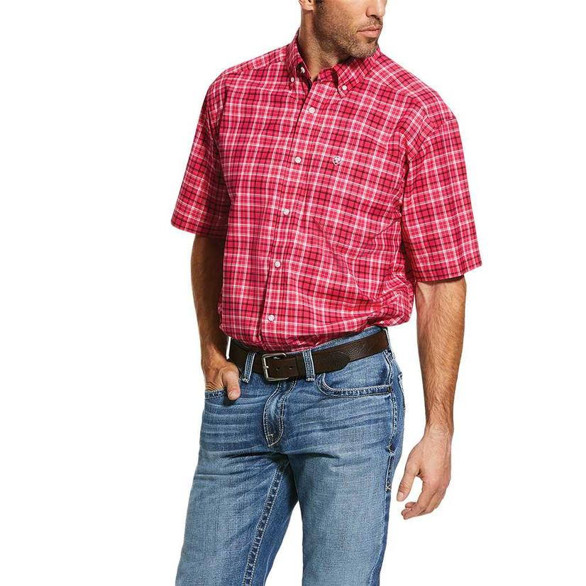 Ariat Kendale Rose Red Big Plaid Short Sleeve Buttondown Men's Shirt