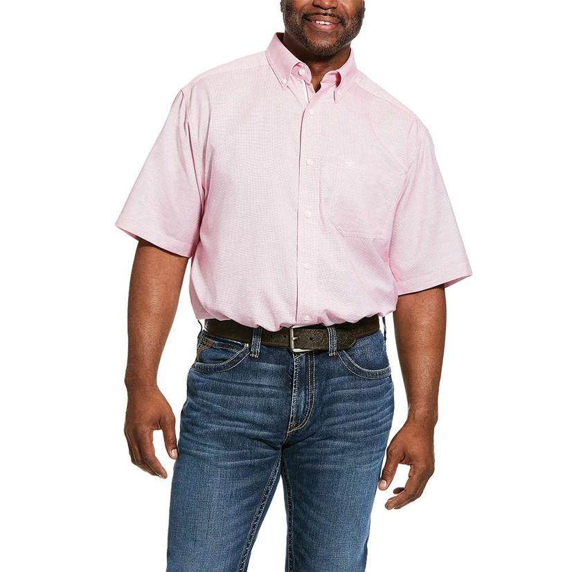 Ariat Keyport Rose Red Plaid Short Sleeve Buttondown Men's Shirt