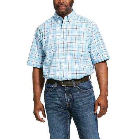 Ariat Larkspur Blue Plaid Short Sleeve Buttondown Men's Shirt