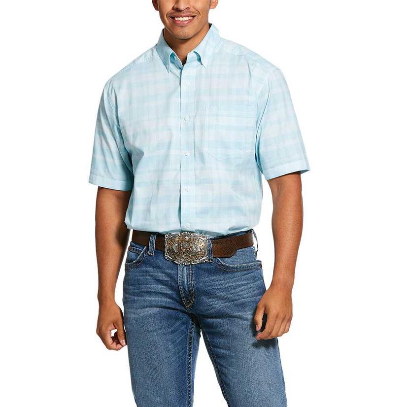 Ariat Neptune Blue Short Sleeve Buttondown Men's Shirt