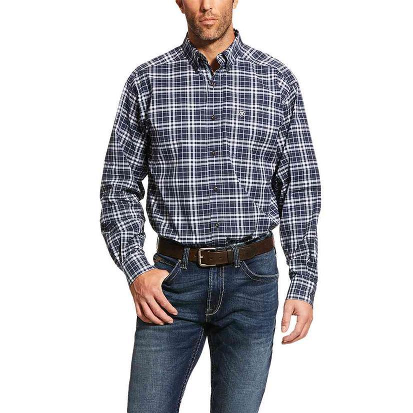 Ariat Newberry Stretch Navy Plaid Long Sleeve Buttondwon Men's Shirt