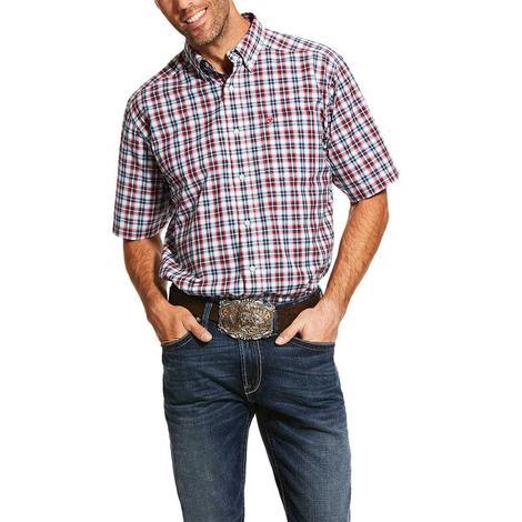 Ariat Newington Red Navy Palid Short Sleeve Buttondown Men's Shirt
