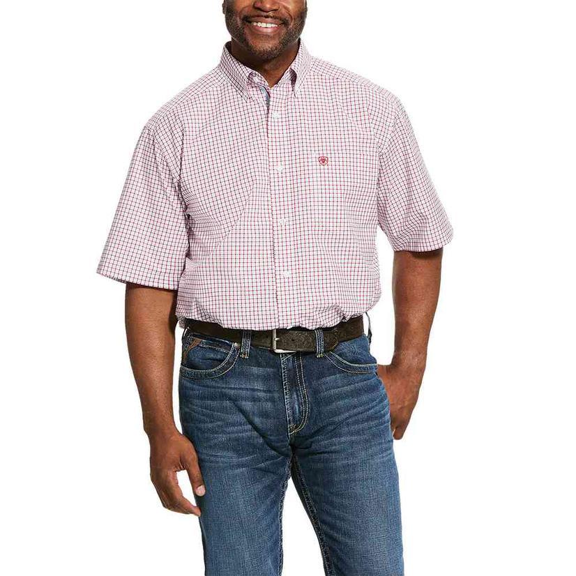 Ariat Norland Red Blue Plaid Short Sleeve Buttondown Men's Shirt