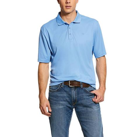 Ariat Tek Polo Polar Bear Blue Short Sleeve Men's Polo Shirt