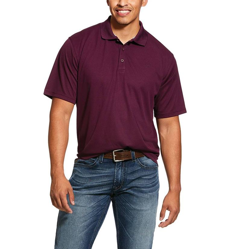 Ariat Tek Polo Potent Purple Burgundy Short Sleeve Polo Men's Shirt