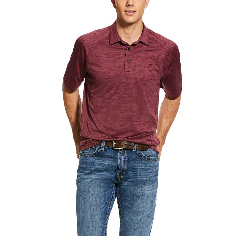 Ariat Charger Polo Maroon Short Sleeve Men's Shirt
