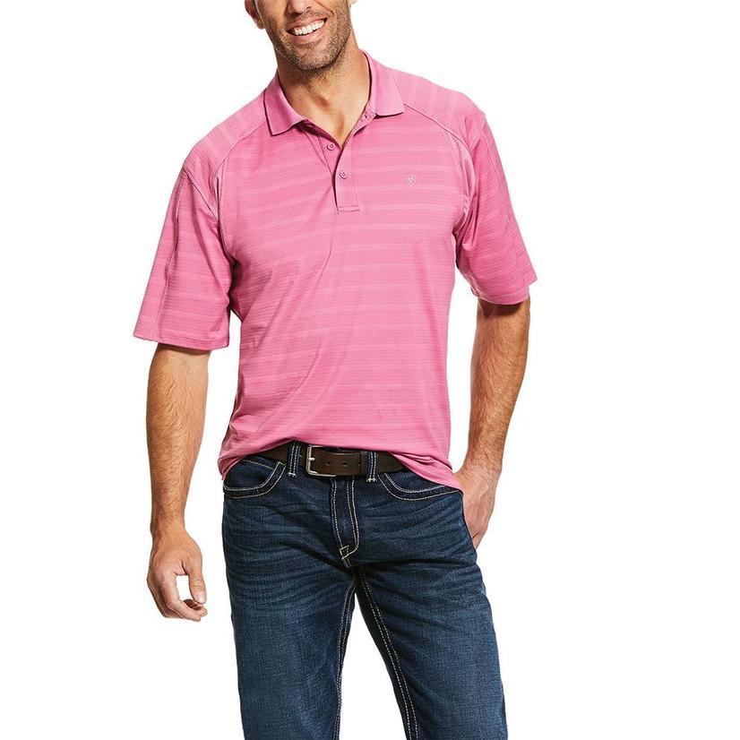 Ariat Ac Polo Pink Stripe Short Sleeve Men's Shirt
