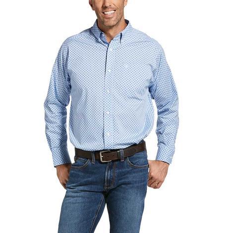 Ariat Jeanwood Blue Print Long Sleeve Buttondown Men's Shirt