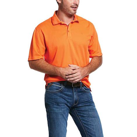 Ariat Tek Polo Hot Lava Orange Short Sleeve Men's Shirt
