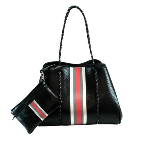 Haute Shore Greyson Fall2 Uptown2 Black Red White Stripe Bag