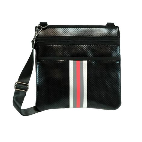 Haute Shore Peyton Crossbody Sharp Black with Red and White Stripe Bag