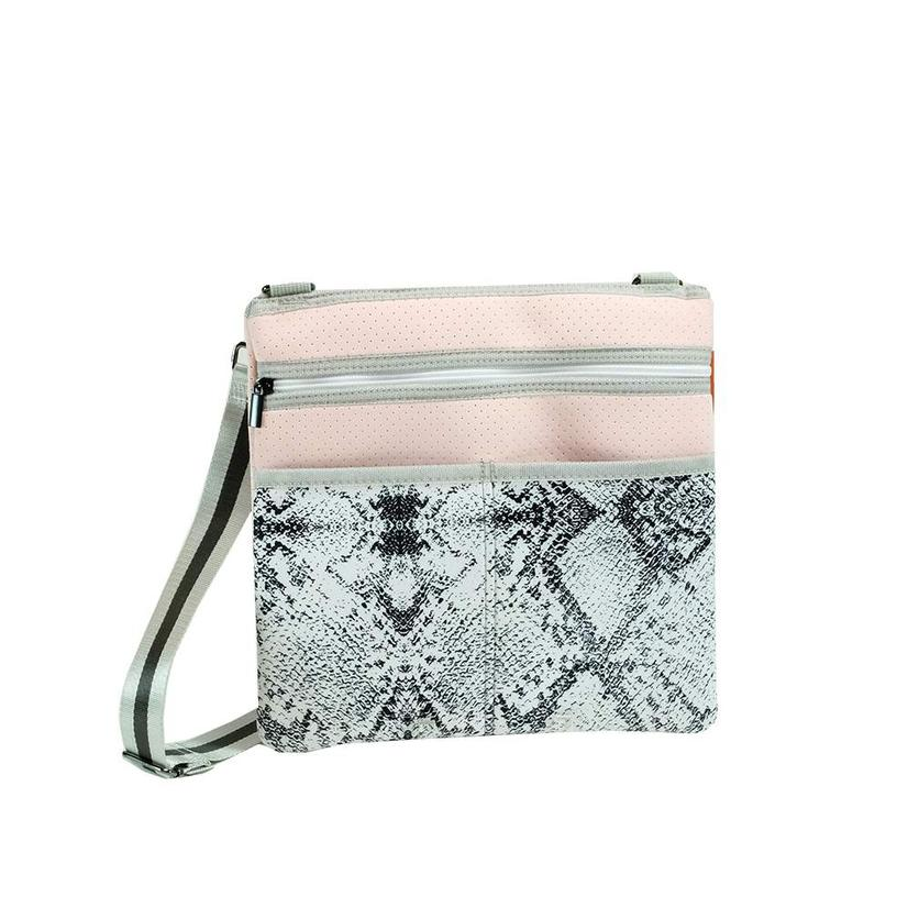 Haute Shore Peyton Cross Body Whim Pink Grey Python Print Bag