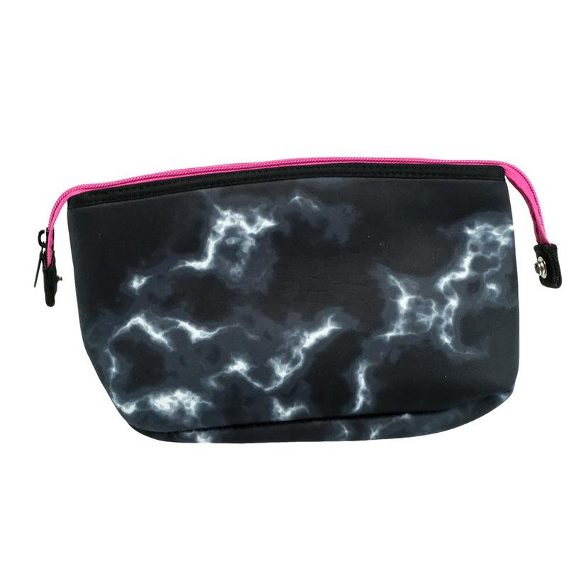 Haute Shore Erin Cosmetic Bag In Black Marble With Pink Zipper