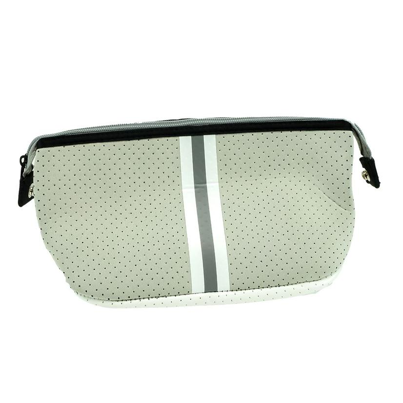 Haute Shore Erin Cosmetic Putty Grey White Stripe Bag