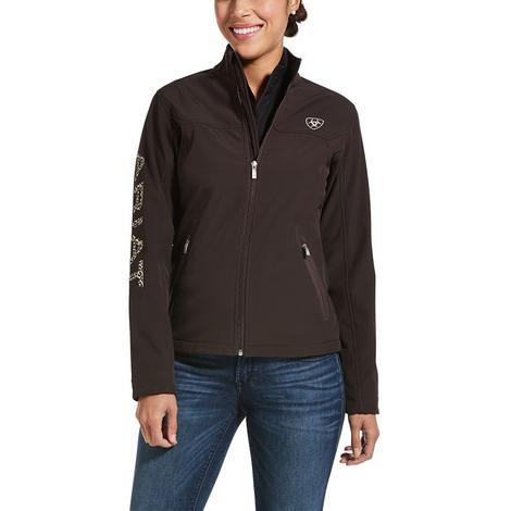 Ariat New Team Softshell Brown Logo Zip Front Women's Jacket