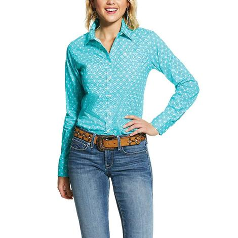 Ariat Sky Blue Kirby Stretch Long Sleeve Buttondown Women's Shirt