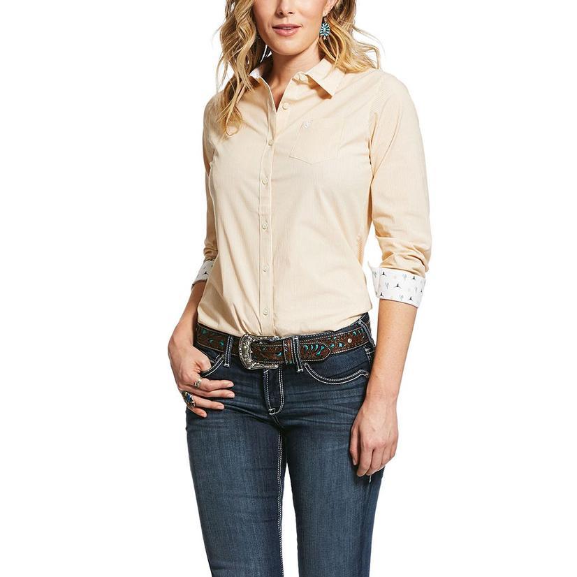 Ariat Kirby Stretch Light Yellow Stripe Long Sleeve Buttondown Women's Shirt
