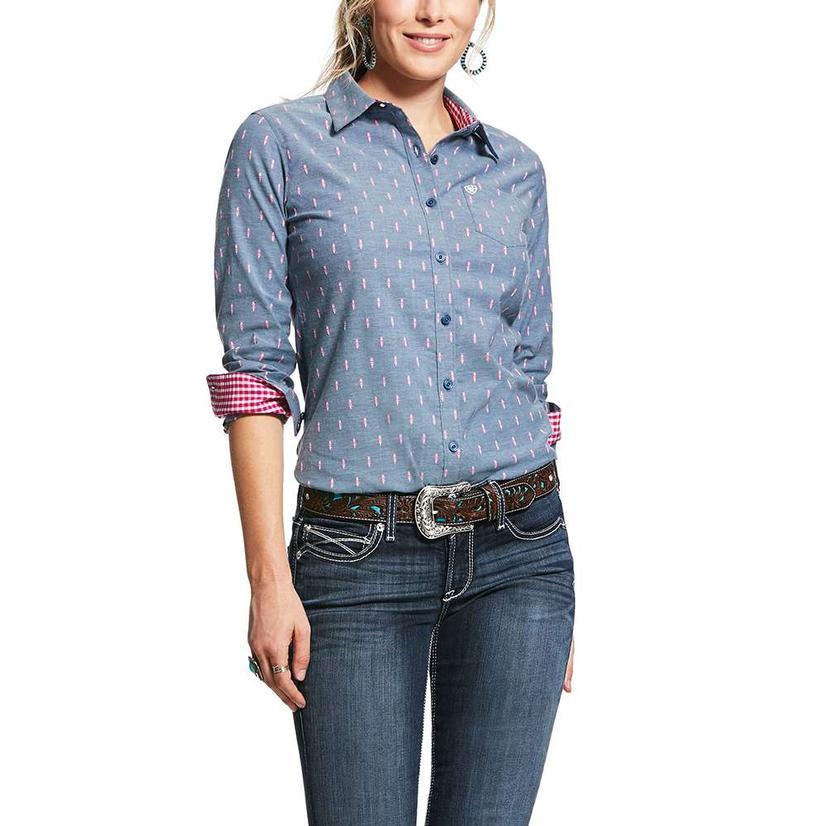 Ariat Kirby Stretch Grey Pink Print Long Sleeve Button Down Women's Shirt
